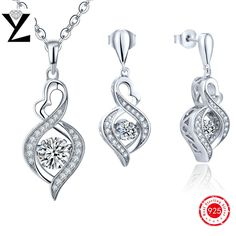Infinity 925 Sterling Silver Pendant & Earrings Fashion Jewelry Sets for Women AAA Cubic Zircon Dancing CZ Diamond Accessories