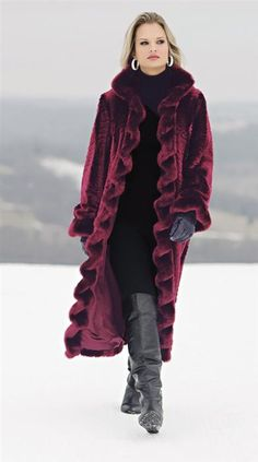 RUFFLED BROADTAIL BURGUNDY FAUX FUR COAT @ Victorian Trading Co
