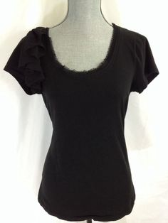 Ann Taylor Loft Black Shirt Small S Scoop Neck 100% Cotton Short Sleeve Solid #AnnTaylorLOFT #KnitTop #Casual