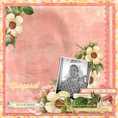 A special layout for a special family....and the inspiration behind this sheet of paper in the Park Drive collection...which is named for Margaret.  Using Webster's Pages Park Drive collection in digital format.