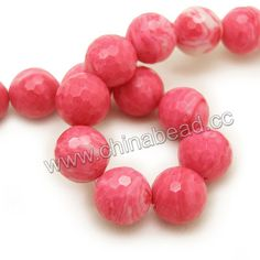 Gemstone Beads, Red Vein Jade, Faceted round, Approx 16mm, Hole: Approx 1.2mm, 25pcs per strand, Sold by strands