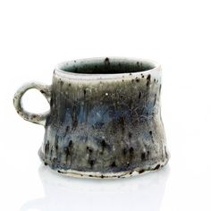 """Flat Bottom Mug"" Wood fired porcelain, wheel thrown, interior glazes, coal slag additive in the clay body x x H Learn more about the Artist: Perry Haas Ceramic Artists, Tea Mugs, Porcelain, Pottery, Clay, Ceramics, Tableware, Wood, Tumbler"