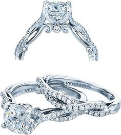 Verragio Twist Shank Diamond Engagement Ring: This diamond engagement ring setting by Verragio features prong set round brilliant cut diamonds along a twist shank leading up to your choice of center diamond.
