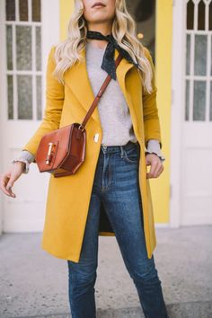 Adorable Yellow Outfit for Winter Yellow Cardigan Outfits, Black Cardigan, Long Cardigan, Yellow Jacket Outfit, Mustard Cardigan, Yellow Dress, Cardigans For Women, Coats For Women, Women's Cardigans