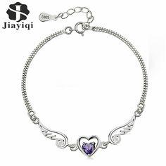 2017 Silver Plated Cubic Zircon Crystal Bracelet Heart Shape Bracelets for Women Fashion Love Heart Valentine's Day Gifts