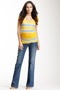 Lilac Maternity Trouser Jean | bright .. not sure she's going to love the horizontal lines, though
