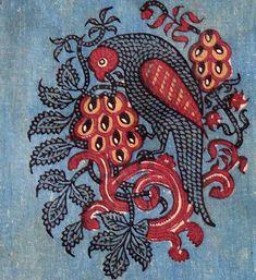 Detail – Wood block print cotton textile, circa 1900 – 20, from Sanganer, Rajasthan (nr. Jaipur)