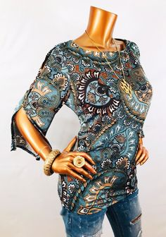 de93c1b2e30a Db L Top Floral Paisley Stretch Cut Out Buttons 3/4 Sl Blouse Shirt Boat