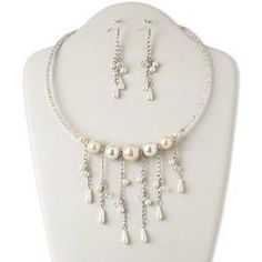 Pearl Style Necklace and Earring Set