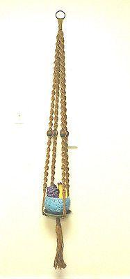 Vintage Macramé  Handcrafted Hemp w Brass Ring & Beads Plant Hanger 6' 1970's
