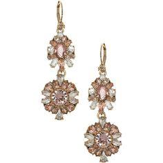 Marchesa Women's Swarovski Crystal Double Drop Vintage Earrings (905 CZK) ❤ liked on Polyvore featuring jewelry, earrings, gold, swarovski crystal earrings, earring jewelry, swarovski crystals earrings, swarovski crystals jewelry and vintage earrings