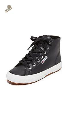 Superga Women's 2795 Leather Hi Top Sneakers, Black, 5 B(M) US - Superga sneakers for women (*Amazon Partner-Link)