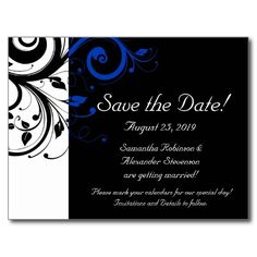 Black/White/Cobalt Blue Bold Save the Date Postcard
