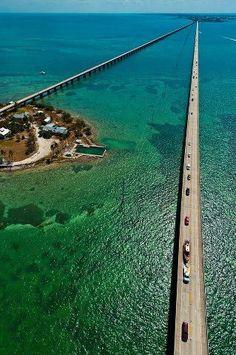 An aerial photograph of the Seven Mile Bridge, Florida Keys, USA