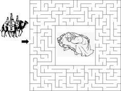 Use the The Wise Men Maze as a fun activity for your next children's sermon. Christmas Maze, A Christmas Story, Kids Christmas, Christmas Sunday School Lessons, Sunday School Crafts, Coloring Sheets, Coloring Pages, Childrens Sermons, Bible Society