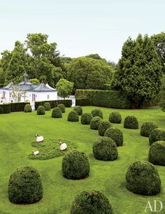 On the grounds of Hilary and Wilbur Ross's Mario Buatta–designed Hamptons home, landscape designer Charles Stick created a topiary promenade dotted with François-Xavier Lalanne's beloved sheep sculptures. Formal Gardens, Outdoor Gardens, Modern Gardens, Japanese Gardens, Small Gardens, Southampton, Hedges Landscaping, Landscaping Ideas, Backyard Landscaping