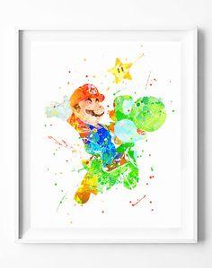 Super Mario Bros Print, Games, Yoshi, Watercolor Art, Printable, Home Decor…