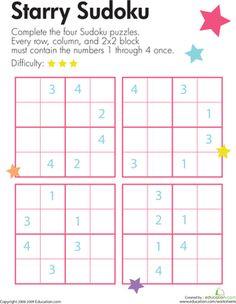 Second Grade Offline Games Worksheets: Sudoku Star
