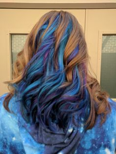 Natural red hair with blue, teal, and purple.