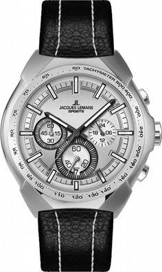 Jacques Lemans Jürgen Melzer Collection 1-1675B Men's Chronograph Black Leather Strap Watch