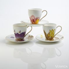 Porcelain Cups -Botanically Inspired Decor - Royal Copenhagen - Veranda.com