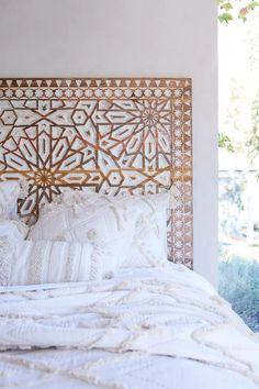 Handcarved Albaron Bed   Anthropologie Home Bedroom, Girls Bedroom, Bedroom Decor, Master Bedroom, Bedroom Ideas, Headboard Ideas, Bamboo Headboard, Bohemian Headboard, Wood Carved Headboard