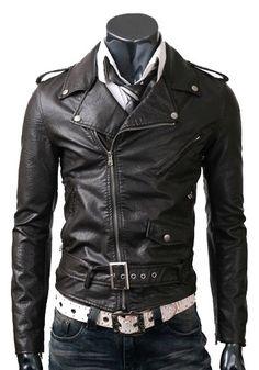handmade Men Black leather Jacket stylish design, Men Brando Style Slim Fit Leather Jacket