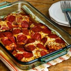 Low-Carb Pepperoni Pizza Chicken Bake (Gluten-Free) found on KalynsKitchen.com