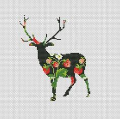 Strawberry Deer Counted Cross Stitch Pattern Chart Instant download pdf pattern only! Design size in stitches:125 x 125 st Design size in inches / centimeters: 14 count 8,9x 8,9 in 22,7 x 22,7cm 16 count 7,8in x 7,8in /19,8cm x 19,8cm Color 13 PDF pattern content: -- preview