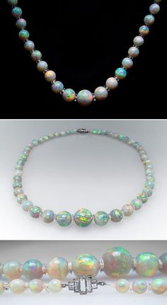 awesome 1900's Antique Crystal Opal Bead Necklace w/ Platinum Diamond Clasp & Qu...