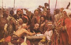 Zaporozhtsi write a letter to the turkish sultan, by I. Repin  Ukrainian history