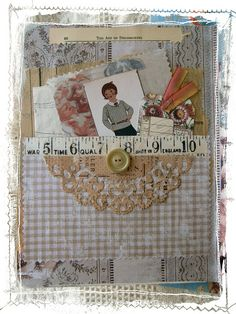 Over the Rainebeau: White Wednesday and Altered Journal page with pocket and paper doily.