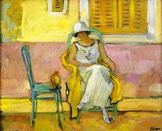 The Athenaeum - Woman in a White Dress (Henri Lebasque - circa 1923)
