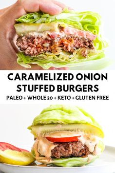 These Caramelized Stuffed Onion Burgers are made with perfectly seasoned beef patties stuffed with beautiful sweet caramelized onions. Food Recipes For Dinner, Food Recipes Keto Low Carb Keto, Low Carb Recipes, Beef Recipes, Cooking Recipes, Healthy Recipes, Easy Recipes, Easy Cooking, Recipes Dinner, Easy Meals