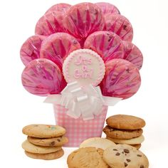 """Baby Girl Gingham Bouquet Includes:  • Buttercream Frosted """"It's A Girl"""" Cutout Cookie • 2 Chocolate Chip Cookies • 2 Oatmeal Raisin Cookies • 2 Sugar Cookies • 2 Peanut Butter Cookies • 2 M and M Cookies • 1 White Chocolate Chip Cookie"""