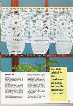Artes by Cachopa - Croche & Trico: Cortina de croche - Uma idéia original foi aqui transformada em malhas