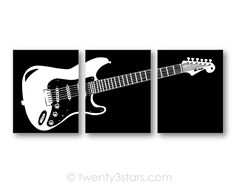 Electric Guitar Art Set | Black & White | Choose Any Colors | twenty3stars