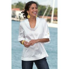 Versatile and flattering white Port Of Call Shirt from Soft Surroundings. Wear with denim or Bermuda shorts in warm weather. #womens #spring