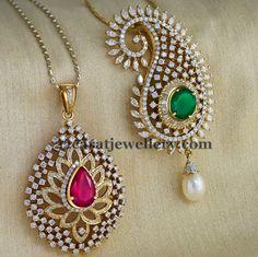 Diamond Pendent with Gemstone and South sea pearl. Gold Pendent, Pendant Set, Diamond Pendant, Diamond Jewelry, Diamond Bracelets, Indian Wedding Jewelry, Bridal Jewelry, Indian Bridal, Stone Jewelry
