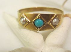 Antique 14K Gold Natural Pearl and Turquoise Band by NaughtNew