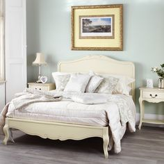 Juliette shabby chic champagne double bed