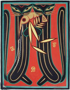 Two cats holding a large prawn - Jamini Roy