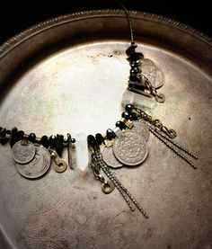 Tribal Assemblage Necklace- Witchy Rhinestone Chain and Raw Quartz Point Boho Coin Necklace