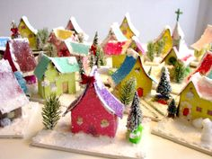 glitter houses made by a 7th grade class..    Inspireco.blogspot.com
