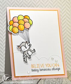 Mama Elephant Up and Away and True Friend (sentiment) stamp sets; Copic colored; Papertrey Ink Sweet Blush, Summer Sunrise (papers)
