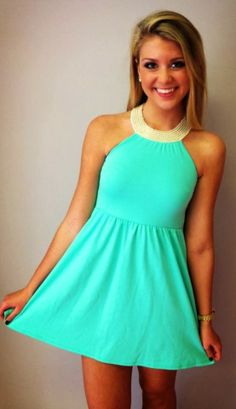 Embroidered neck mint flowy dress