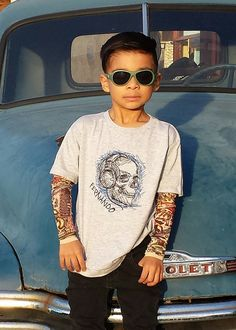 Personalized Skull Rock Tattoo Sleeve Shirt by TotTude on Etsy