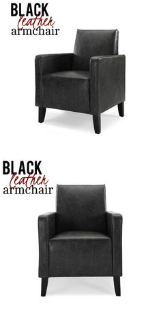 This black accent chair made from vintage faux leather and kiln dried hardwood frame mix modern lines with vintage allure. It features elegant slightly flared arms for maximum support and comfort, high-density foam interior for right amount of support, wide seat for free range of movement and padded arms for added comfort.