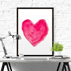 Love pINK Watercolor Heart Art Pink Heart by BeautyAndStyleDesign