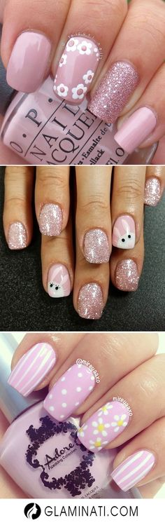 Easter nails have many possibilities to be done and reflect your mood during this wonderful Easter weekend. They can be modest and simple or bright and shiny, full of details and colors. #springnails #easternails #pastel